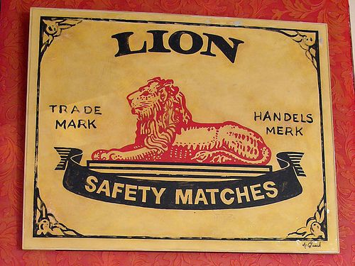 Lion Matches metal sign