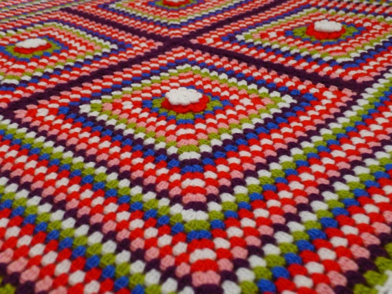 Hand Made Crochet Baby Blanket  Granny Square by Babygigles, $39.99
