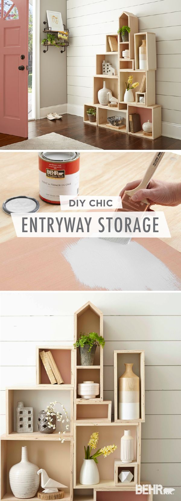 Use this DIY entryway storage box to keep your home looking stylish and organized at the same time. Stack plain wooden boxes together to create the layout of your storage system. Then, add a pop of color by painting each box with different shades like Life is a Peach, Everything's Rosy, Close Knit, and Sepia Filter. Click here for the full tutorial.
