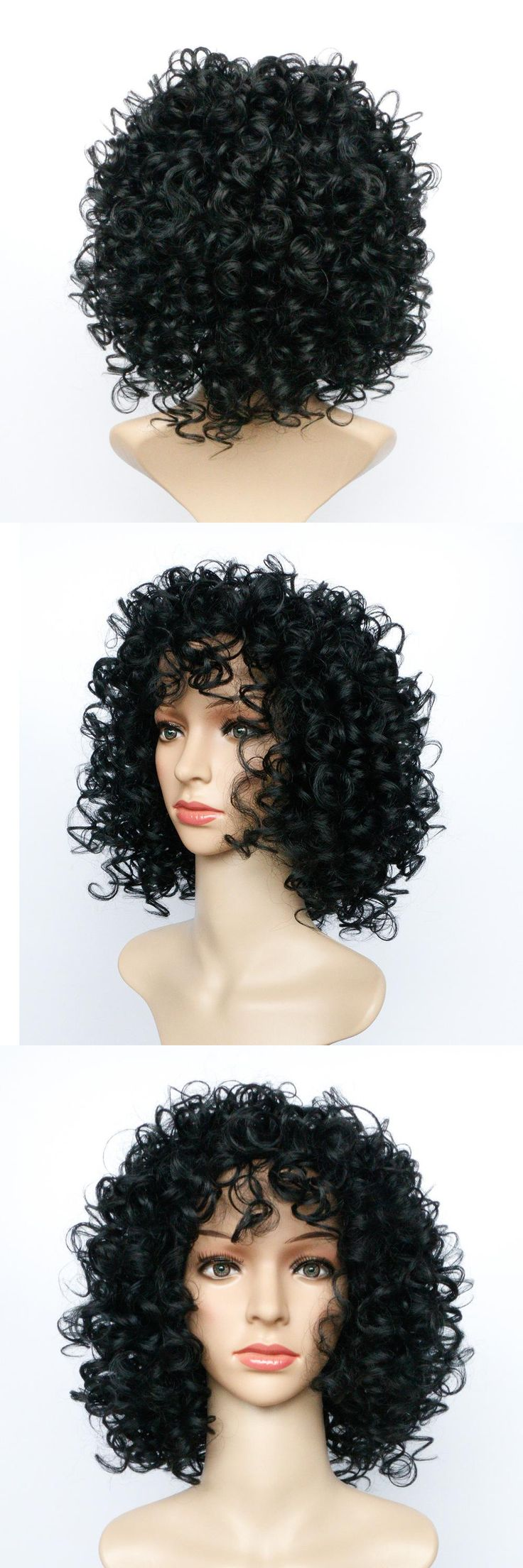 Soloowigs Bouncy Curly Black Synthetic Hair Afro Wigs 14inch Medium Full Lace Hairpieces Puffy hair Style for the Black Women