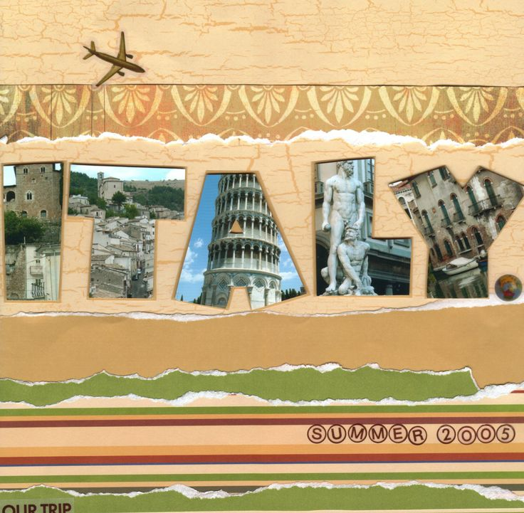 Title page for an Italy vacation scrapbook