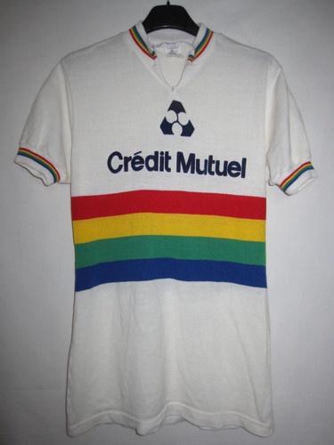 Maillot Cycliste CREDIT MUTUEL style Champion du Monde arc en ciel vintage - M