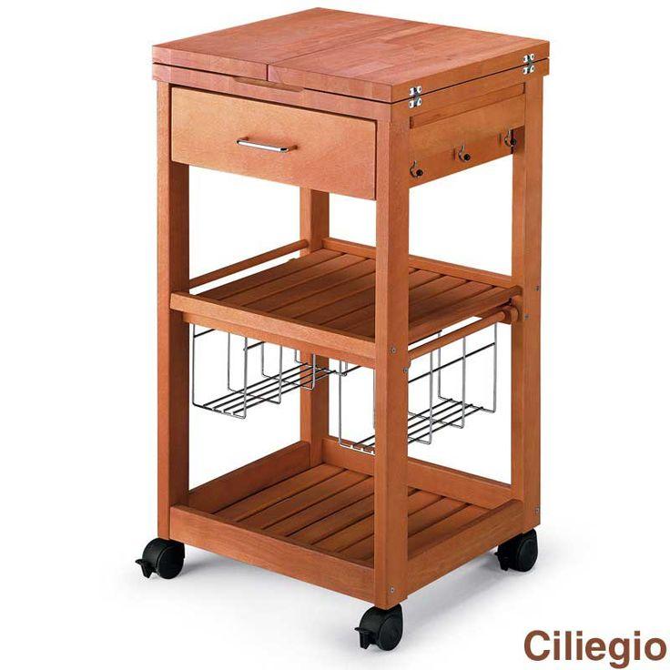 carrello porta vivande in legno massiccio con tagliere pantagruel ciliegio aris italy