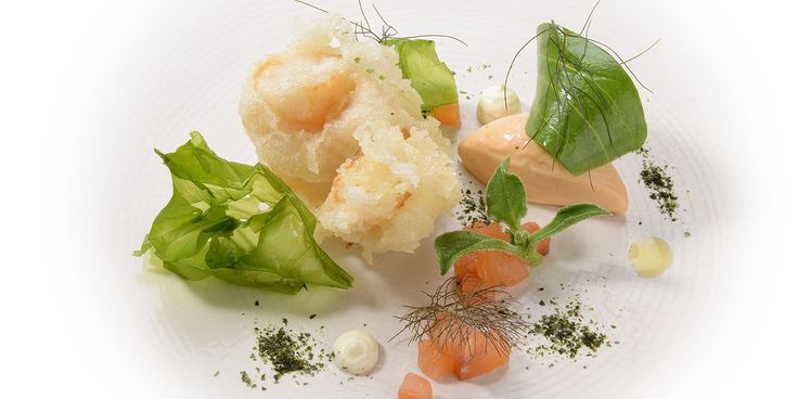 A delightful scallop starter recipe by Nigel Haworth, served with a smooth, buttery scallop roe pâté.