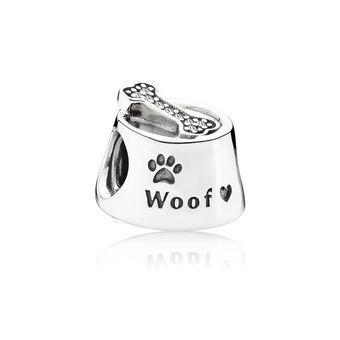 Dog Bowl Silver Charm