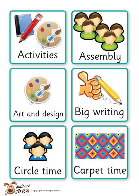 Teacher's Pet Displays » Key Stage One visual timetable » FREE downloadable EYFS, KS1, KS2 classroom display and teaching aid resources » A Sparklebox alternative