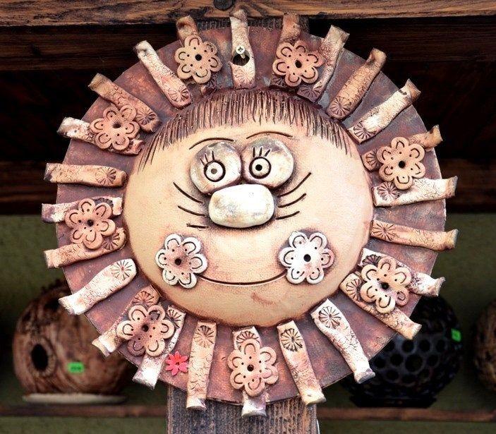 Gartenfigur Sonne Türschmuck Wandschmuck Gartenschmuck Keramik dekoration 30 cm