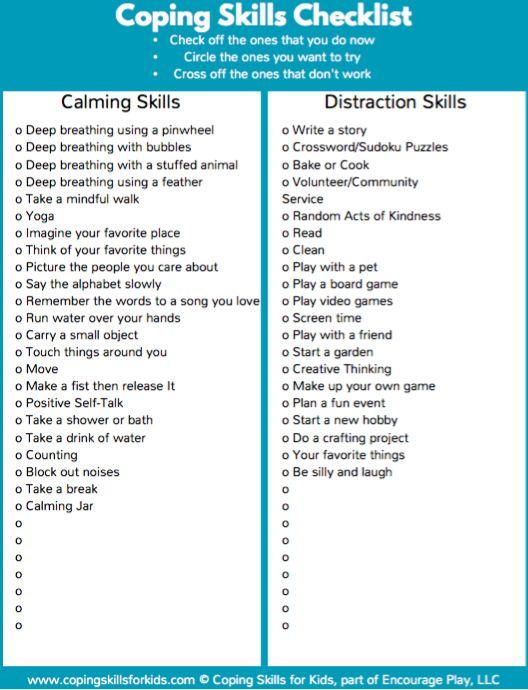 Coping Skills Checklist - Coping Skills for Kids