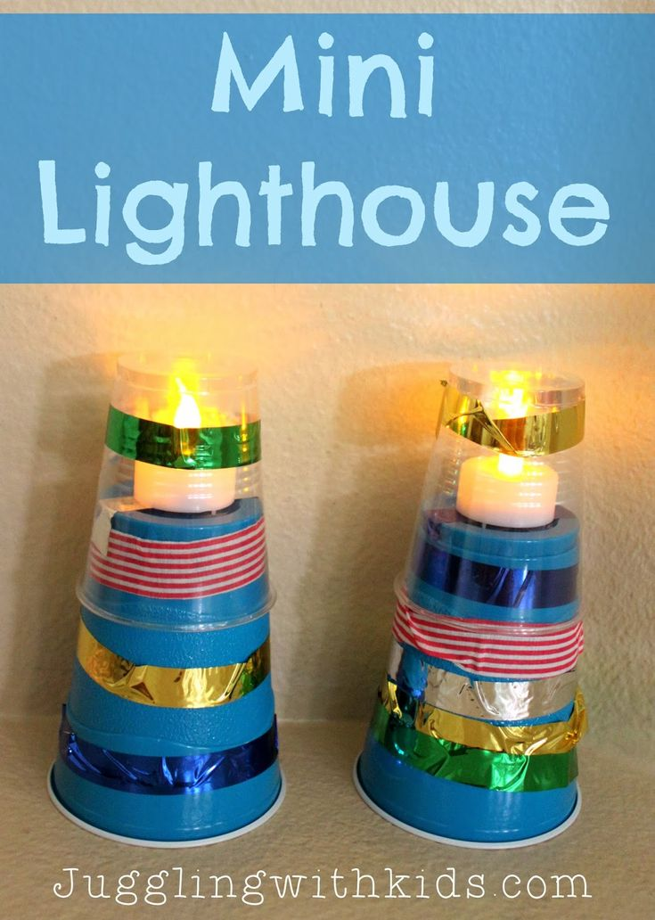 Mini lighthouse: could be created using wire, battery, and mini light bulb, although these items would need to be purchased.