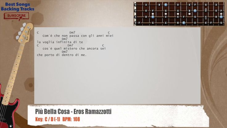 Più Bella Cosa - Eros Ramazzotti Bass Backing Track with chords and lyrics