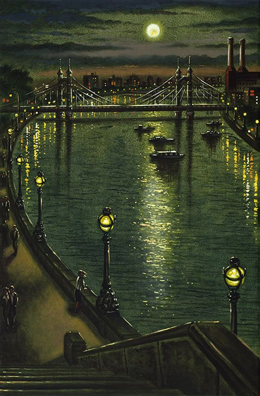 Albert Bridge Moonlight by John Duffin 1965~ Acrylic On Canvas ~ Albert Bridge connects Chelsea on the north bank of the Thames, and Battersea on the south.