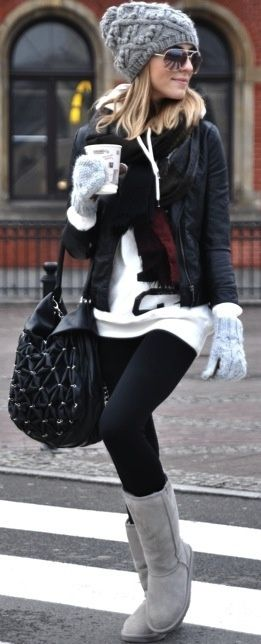 Cute and casual layering for winter - classic grey tall ugg boots + black handbag