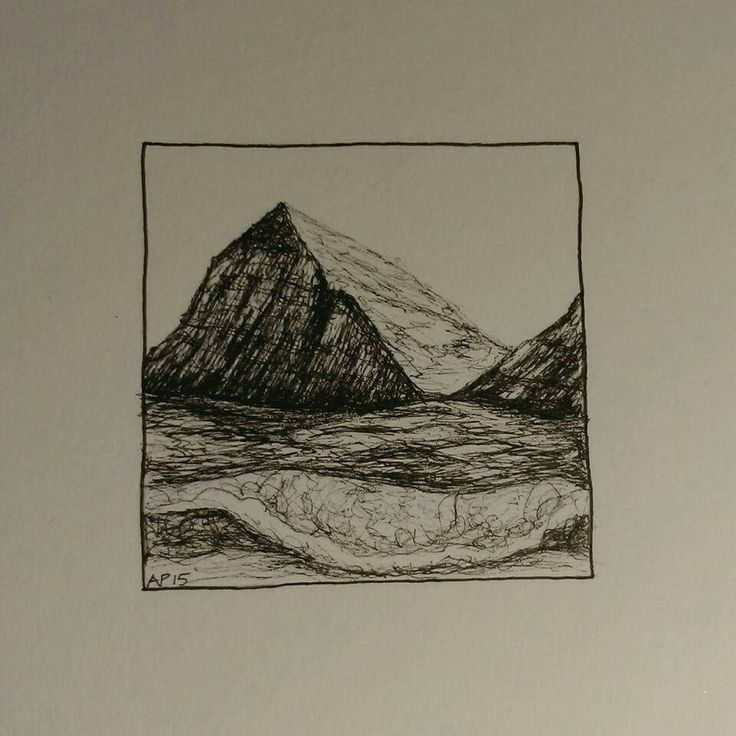 Illustration of a mountain, inspired by the view from the top of Pen-y-Fan in Wales, made by Ayla Paul 2015
