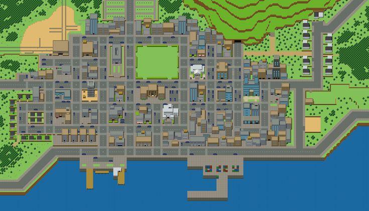 top-down game city rpg tileset parallax harbour   pixel ...