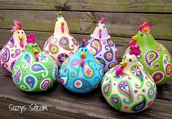 Chickens gourd art, paisley, painted gourds, violet, pink, purple, hot pink…