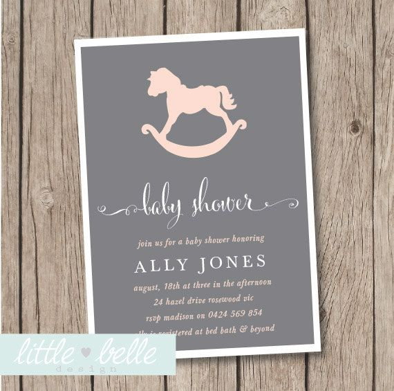Girl Baby Shower Invitation / Rocking Horse Baby Shower Invite / Pink by LittleBelleDesign on Etsy https://www.etsy.com/listing/186623531/girl-baby-shower-invitation-rocking