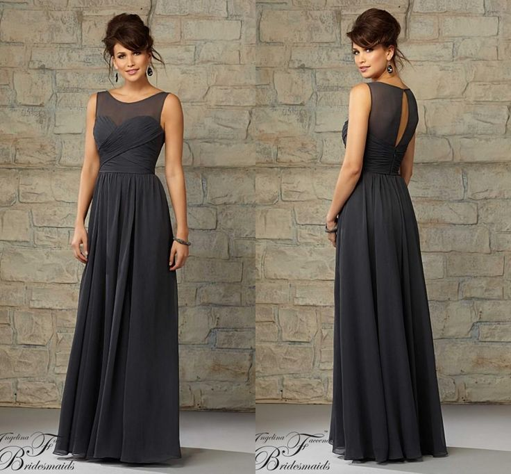 grey chiffon Bridesmaid Dresses sheer bateau keyhole back maid of honor gowns pleated floor length zipper prom Party graduation gowns 20451