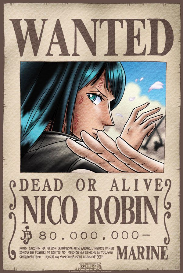 Póster One Piece. Nico Robin, Se Busca Póster con la imagen de Nico Robin Se Busca, personaje del manga y anime japonés One Piece.