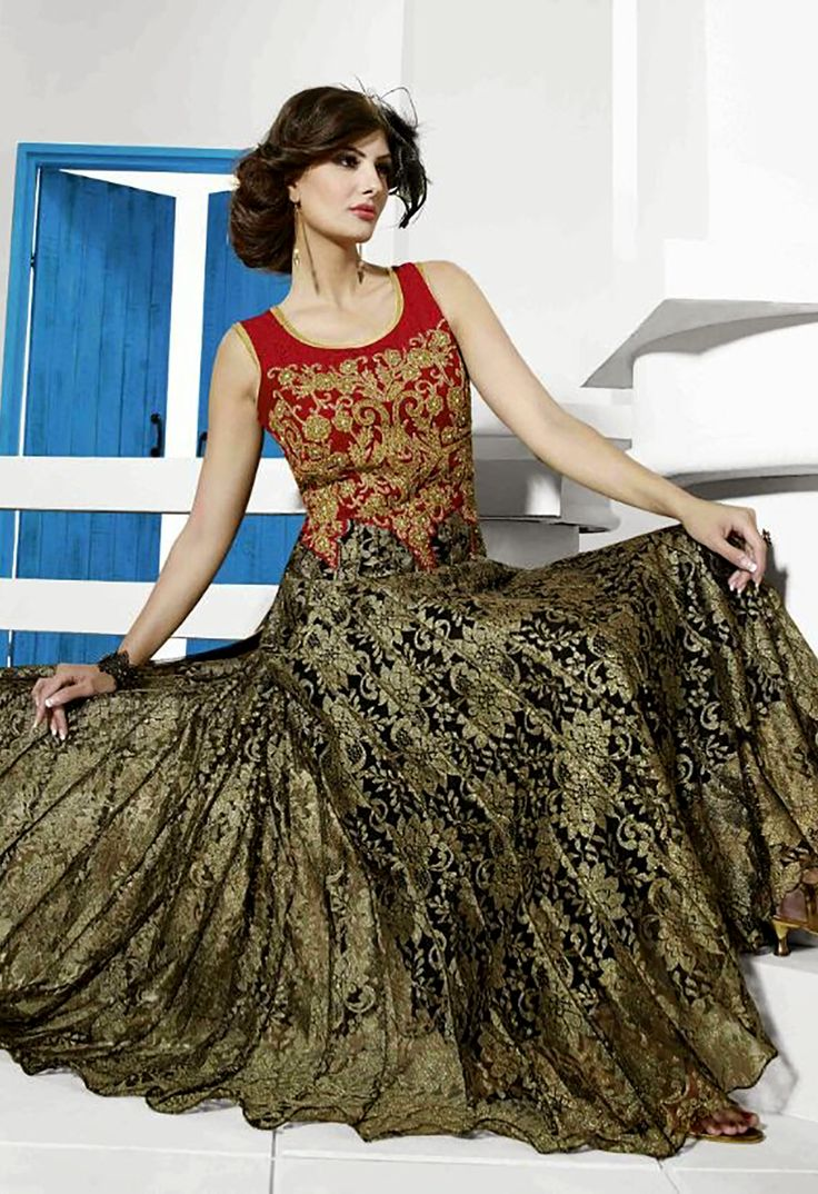 Charming Multi Colour Color Net Wedding Gown With Santoon Inner Buy Now : http://bit.ly/20BIHo4 Price : Rs5,825/- Free Shipping in India