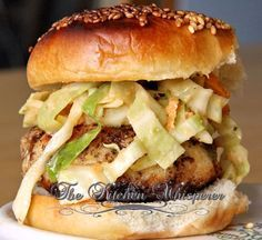 Tilapia Burgers with a Spicy Jalapeno Slaw, Healthy, Lent Meals, High Protein, Coleslaw, Sliders, Appetizers, Snacks, Sandwich