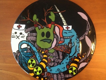 Hand painted Vinyl Record - Fearsome friends 'We can make you better'- Full resin coat | Felt