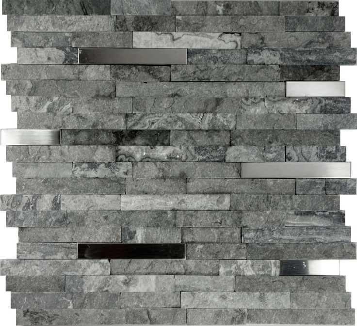 SAMPLE- Gray Natural Stone Stainless Steel Insert Mosaic Tile Kitchen Backsplash