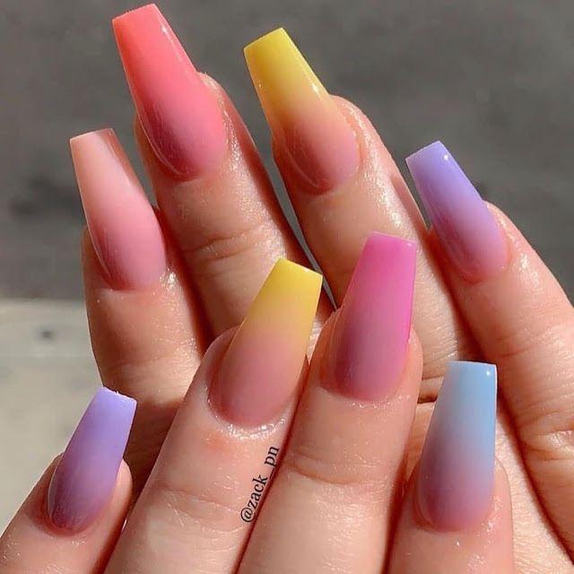 Gradación De Color Manicura De Uñas Uñas Bonitas Y Uñas