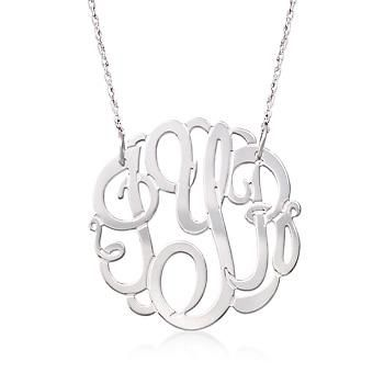 Ross-Simons - Sterling Silver Medium Open Script Monogram Necklace - #839564