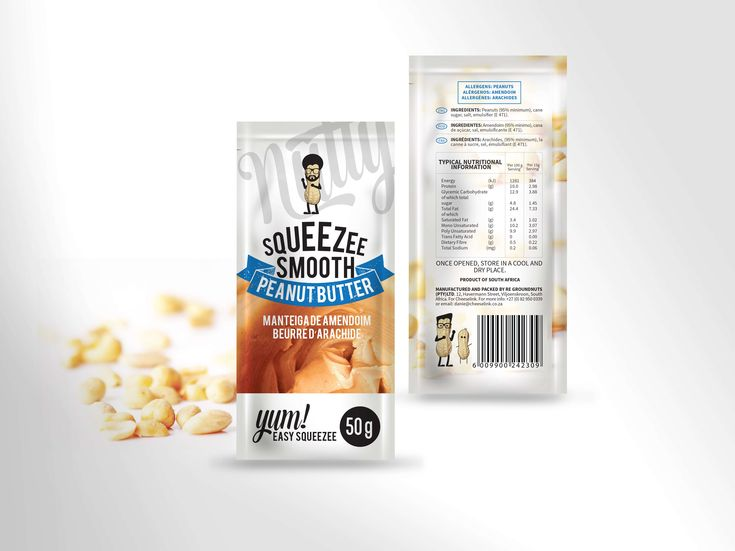 Peanut Butter Sachet Packaging design for Mr Nutty by Pink Pigeon Graphic Design © www.pinkpigeon.co.za