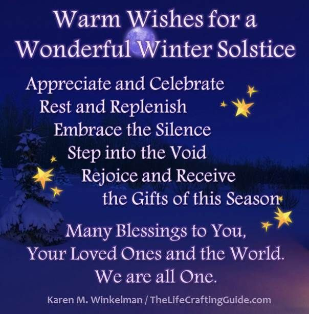 "When Is Winter Solstice 2016 | Blue night sky, full moon and snow with the words ""Warm Wishes for a ..."