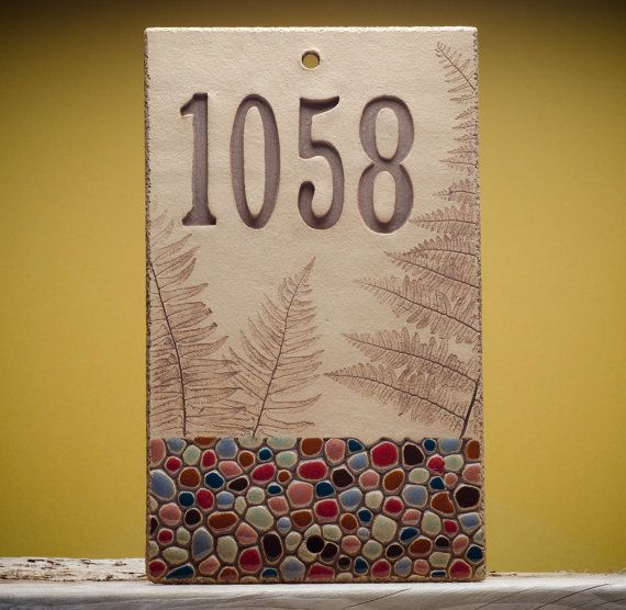 Mixed mosaic   Etsy listing at https://www.etsy.com/listing/207452088/house-numbers-cobblestone-with-ferns