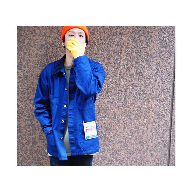 2/1thu)  work coverall & yellow leather gloveorangeknit cap  Lot No:U7434231  Yamai  179cm/L size. #universaloverall #industrial #work #workwear #since1924 #coverall #rainyday #orange #navy #workstyle #yellow #knit #universalman #ユニバーサルオーバーオール #chicago #illinois #tokyo #instagood #ootd @universaloverall_jp