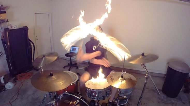 Burn - Drum Cover with Fire Sticks - Ellie Goulding - Drumming With Fire...
