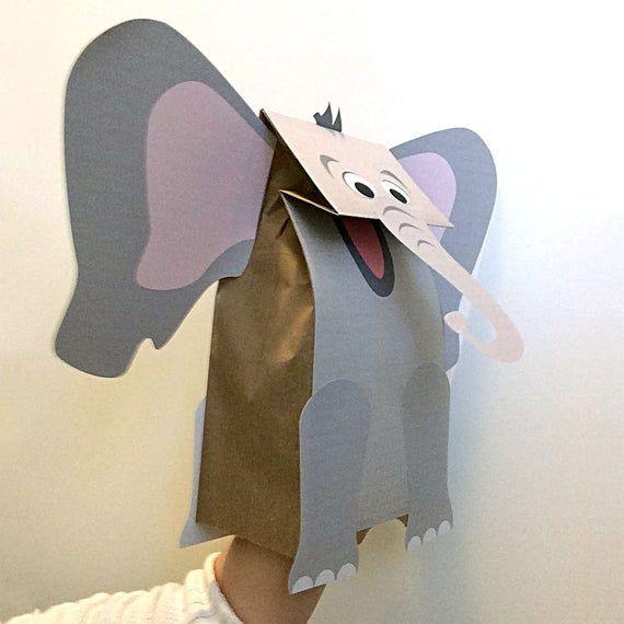 Elephant Paper Bag Puppet Printable Kid S Craft Títeres De Bolsas De Papel Artesanías De Elefantes Titeres De Papel