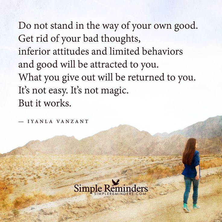 """Do not stand in the way of your own good"" by Iyanla Vanzant with article by Sylvia Huang"