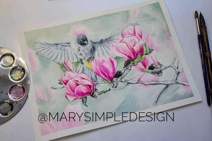 Watercolor by Maria Pirogova @marysimpledesign    I love magnolia flowers, it is so colourful and vivid...nature is the best artist #colorful #color #watercolor #watercolorpainting #draw #drawing #drawings #sketch #sketches #sketchbook #pink #brush #brushes #art #artist #exercise #training #paper #bird #magnolia #process #pink #instagood #instagram #instadaily #instapic #instaart #fly #illustration #bird