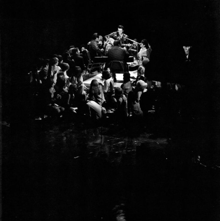 Elvis in concert on stage in Studio 4 - June 27, 1968         Photo courtesy 68 at 40- Retrospective, source          FECC