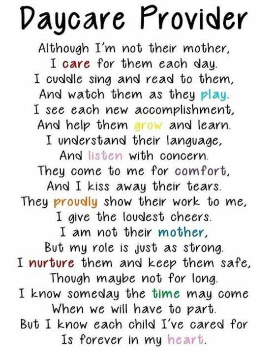 Daycare provider poem | Daycare Mom | Preschool poems ...