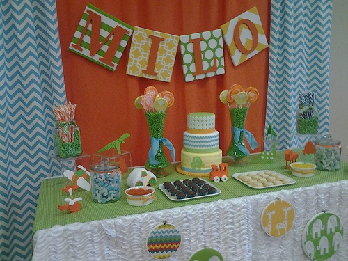Orange, Blue and Green Baby Shower; Cara's Cakes and Scapes