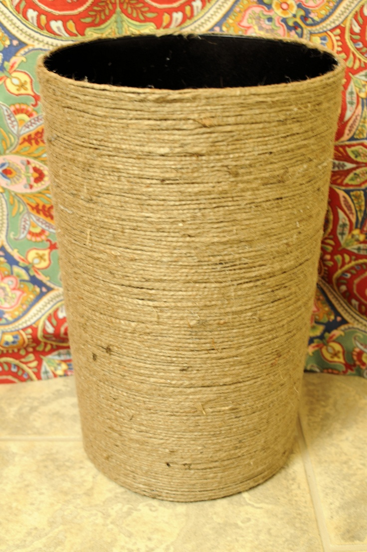 Jute Wrapped Waste Basket