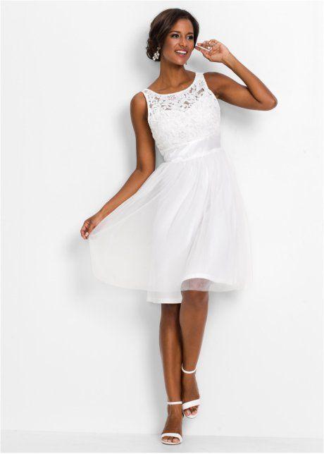 Avondjurk, BODYFLIRT boutique, wit kanten stof evening dress white lace look