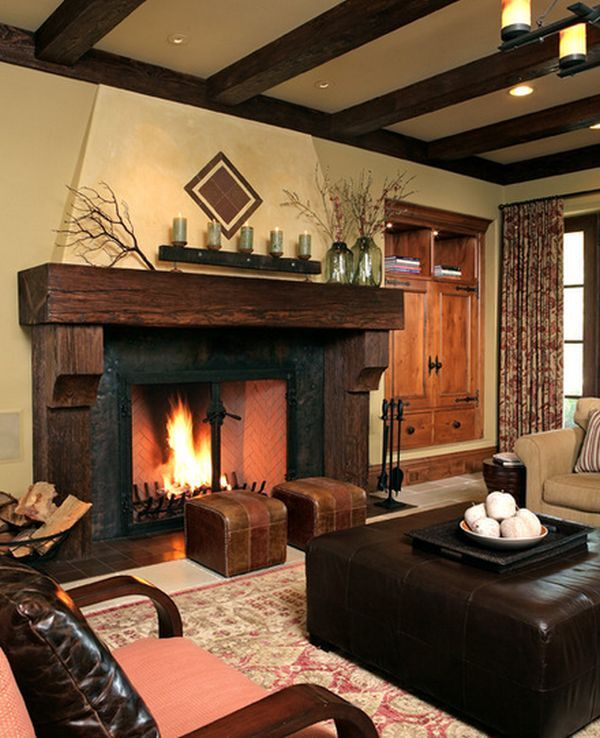 Rustic family home featuring a big fireplace with relciamed wood mantelpiece
