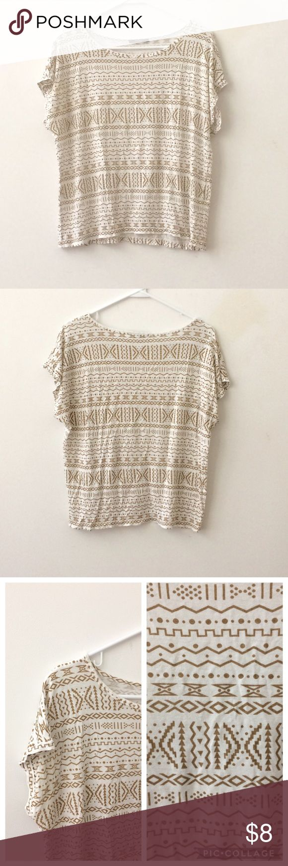 "🌺NEW LISTING F21 Tribal Top - White/Cream🌺 Forever 21 tribal top in white & cream. The tag w/size is no longer on the top but it's a small w/boxy, lose fit. Approximate measurements are 40"" bust & 22.5"" length. In fair to good condition. Thank you for browsing! Forever 21 Tops"