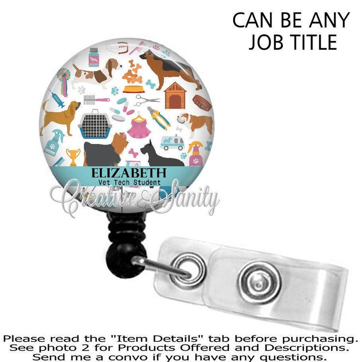 Retractable Badge Holder, Personalized Vet Tech Student, Vet Tech, Choice of Badge Reel, Carabiner, Lanyard, or Stethoscope ID Tag by CreativeSanity on Etsy