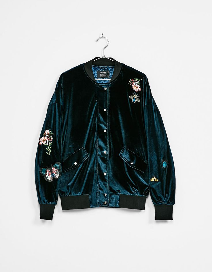Embroidered velvet bomber jacket - New - Bershka Ukraine
