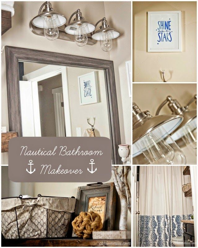 Carissa Miss: Nautical Bath Makeover including a MirrorMate frame on the plate glass mirror! #DIY #bathroom #makeover