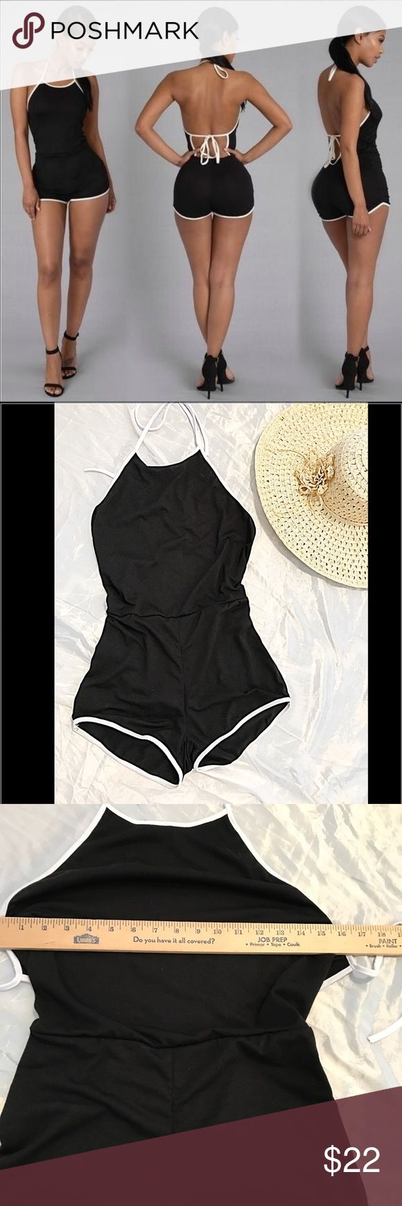 Black Summer Romper Jumpsuit Jumper Shorts Black summer jumper romper shorts. Lightweight and open back. One size fits most please check measurement pictures. Easily fits small and medium. New in package. Pants Jumpsuits & Rompers