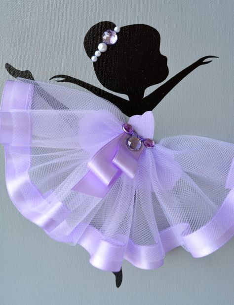 Dancing Ballerinas Wall Decor. Nursery wall art in lavender, purple and grey