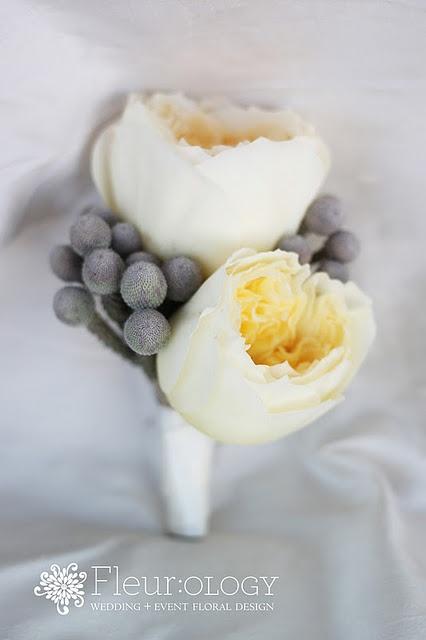 David Austin Garden Rose U0026 Silver Brunia Berry Boutonniere