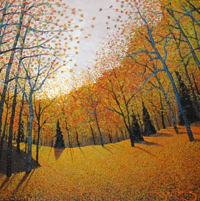 """My sorrow, when she's here with me, Thinks these dark days of autumn rain Are beautiful as days can be; She loves the bare, the withered tree; She walks the sodden pasture lane."" --Robert Frost (Autumn Sun - painting by Mark Berens at Crescent Hill Gallery)"